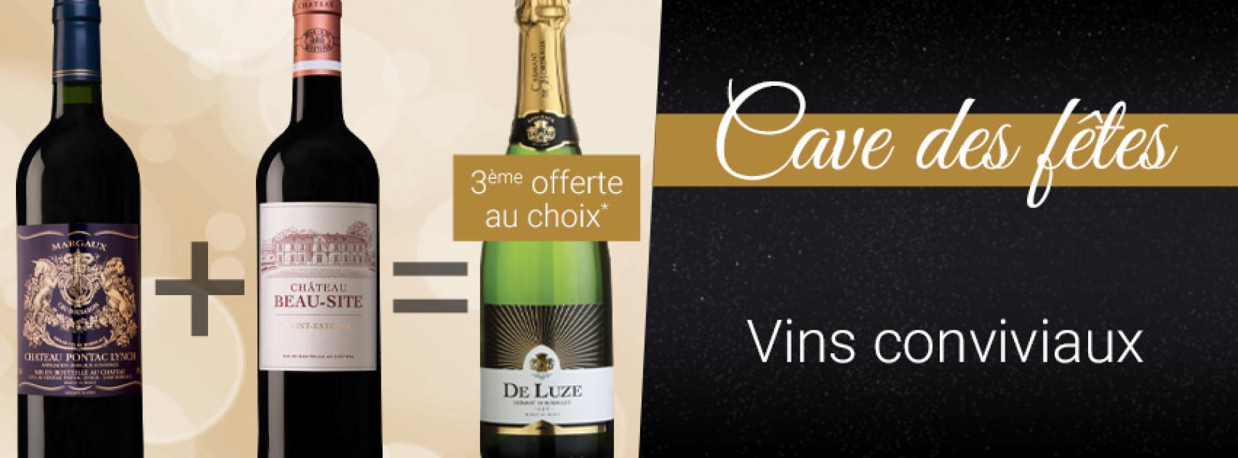 Cave des Fêtes : vins conviviaux 3ème caisse offerte
