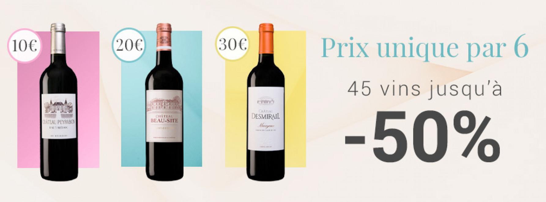 Prix unique par 6 : 10€ - 20€ - 30€