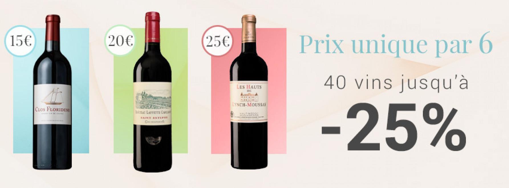 Prix unique par 6 : 15€ - 20€ - 25€