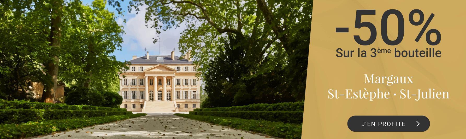 -50% sur la 3ème caisse de Margaux, Saint-Estèphe ou Saint-Julien