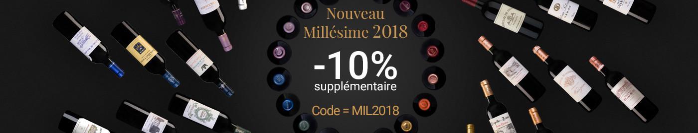-10% supplémentaire au panier sur le nouveau millésime 2018. Code = MIL2018