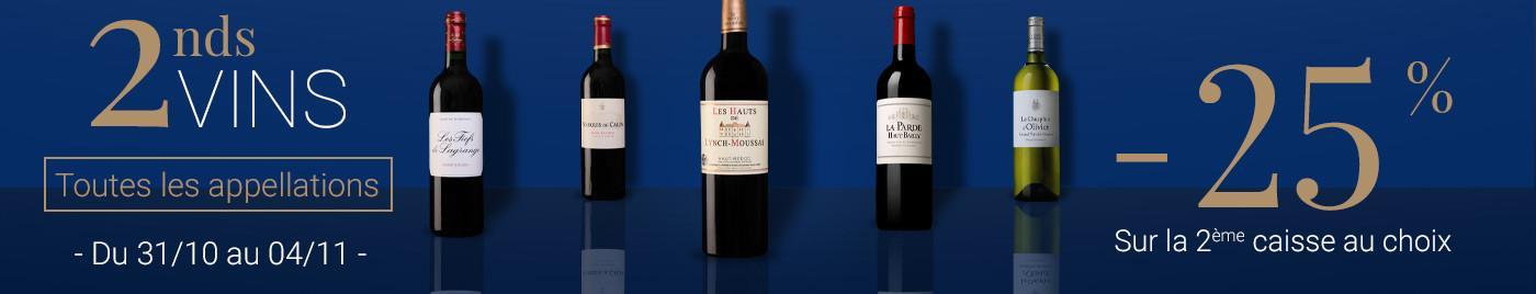 2nds vins -25% sur la 2ème caisse