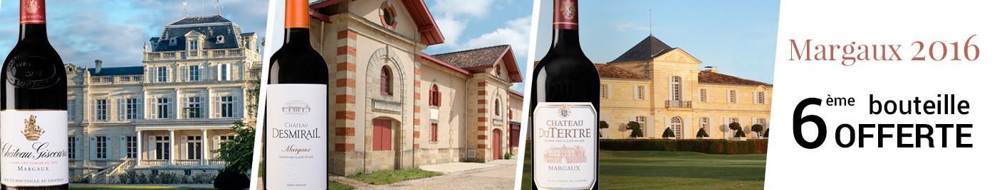 3 Grands Crus Classés de Margaux du millésime 2016 = 6ème bouteille OFFERTE