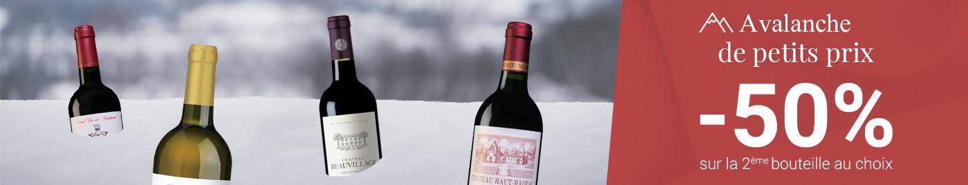 Avalanche de petits prix = -50% sur la 2ème bouteille au choix !