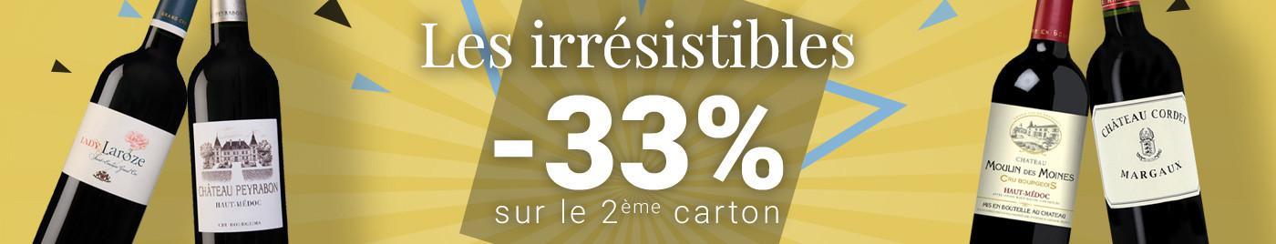 IRRÉSISTIBLE d'été = -33% sur le 2ème carton (le moins cher)
