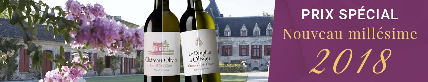 Les 4 vins du Château Olivier millésime 2018, Pessac-Léognan, Cru Classé de Graves