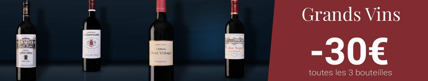 Grands vins à -30€ par 3 bouteilles au choix