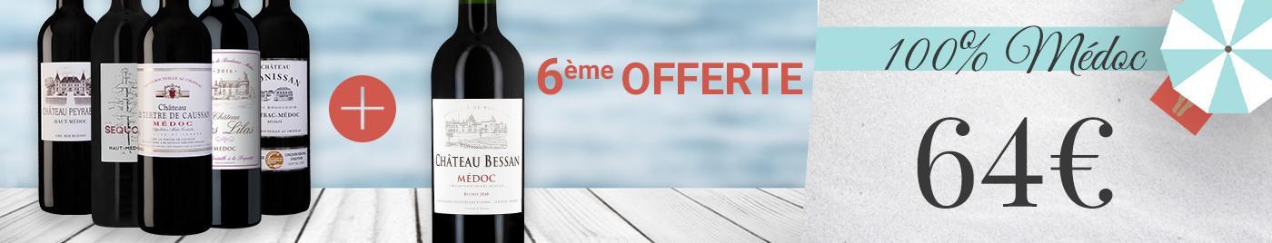 """Panachez les 6 bouteilles de cette sélection """"100% Médoc"""" ➡️ 64€ grâce à la 6ème offerte"""