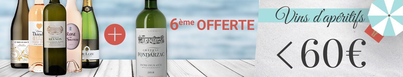 """Panachez les 6 bouteilles de cette sélection """"vins d'apéritif"""" ➡️ - de 60€ grâce à la 6ème offerte"""