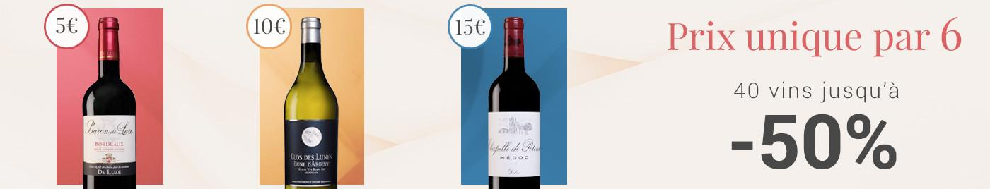 Vins à prix uniques par 6 bouteilles à 5€ - 10€ - 15€
